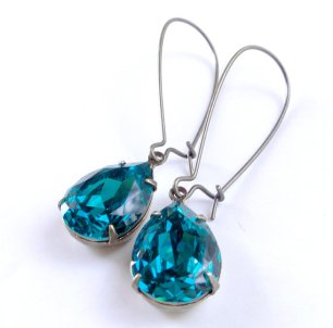 Teal earrings - www.etsy.com/shop/chouettes