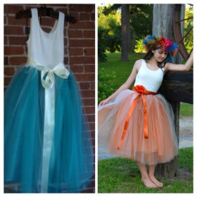 Teal or orange flower girl or junior bridesmaid dress - www.etsy.com/shop/chachalouise