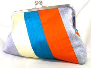 Teal, orange and silver clutch - www.etsy.com/shop/SimplyClutch