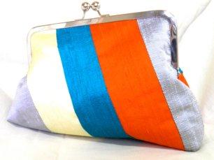 Teal, orange and silver clutch - www.etsy.com/shop/SimplyClutch