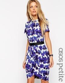 Asos Petite tulip dress with blurred animal print - asos.com