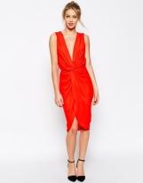 Asos plunge soft twist pencil dress - asos.com