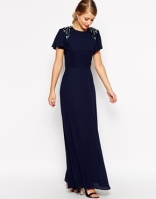 Asos sleeved embellished maxi dress - asos.com