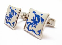 Cobalt and silver dragon cufflinks - www.etsy.com/shop/PerfectCufflinks