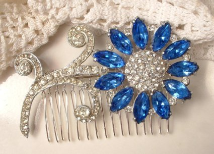 Cobalt and silver hair comb accessory - www.etsy.com/shop/AmoreTreasure