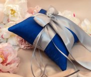 Cobalt and silver ring pillow - www.etsy.com/shop/RomancingJuliet