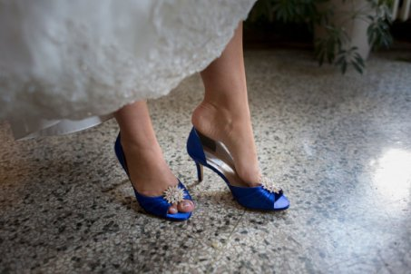 Cobalt and silver wedding heels - www.etsy.com/shop/ABiddaBling
