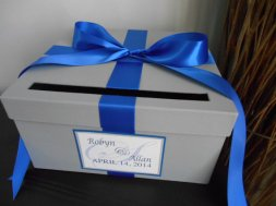 Customised cobalt and silver wedding card box - www.etsy.com/shop/astylishdesign