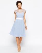 Elise Ryan midi dress with sweetheart lace top - asos.com