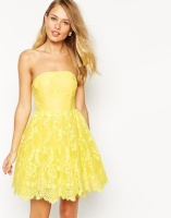 Ginger Fizz Florentine lace bandeau dress - asos.com
