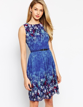 Little Mistress belted skater dress - asos.com