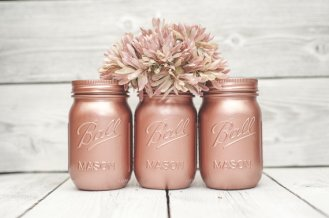 Rose-gold mason jars - www.etsy.com/shop/KAStylesMasonJars