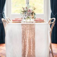 Rose-gold table runner - www.etsy.com/shop/ArcadiaWeddingDesign