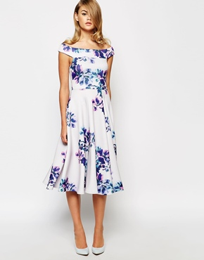 True violet bardot midi dress in floral print Wedding guest dress 22