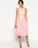 ASOS Lace Top Scuba Debutante Midi Dress, from asos.com