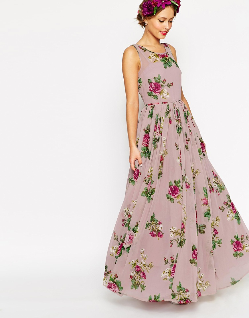 Asos petite wedding super full maxi dress in floral print for Print maxi dress for wedding