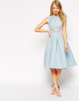 ASOS Skater Dress With Cut Out Detail And Pleats, from asos.com