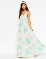 ASOS WEDDING Maxi Dress In Watercolour Mint Rose Print, from asos.com