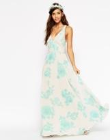 ASOS WEDDING Maxi Dress In Watercolour Mint Rose Print, from asos.com
