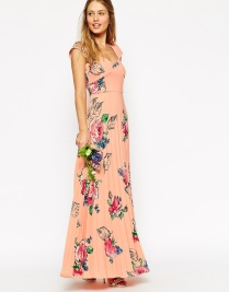 ASOS WEDDING Maxi Tea Dress With Pleated Skirt In Rose Print, from asos.com