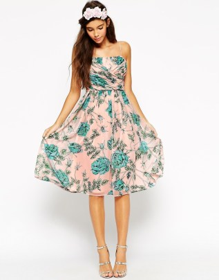 ASOS WEDDING Midi Dress With Ruched Wrap Front In Rose And Bud Print, from asos.com