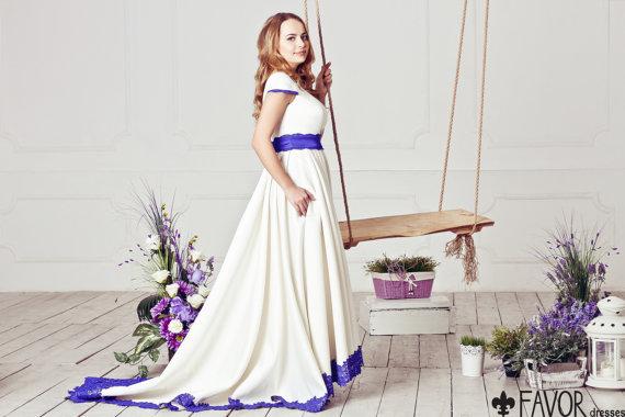 Blue edged wedding dress for Best etsy wedding dress shops