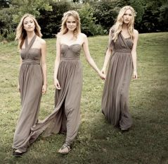 Bridesmaids in taupe dresses {via vuphotography.com}