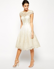 Chi Chi London Premium Metallic Lace Midi Prom Dress with Bardot Neck, from asos.com