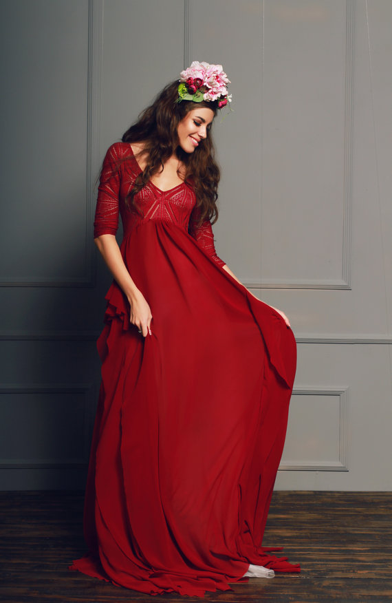 dark red wedding dress � wwwetsycomshopcathytelle