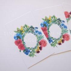 Floral wreath wedding favour tags - www.etsy.com/shop/Tinydotscreative