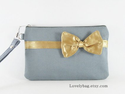 Gold and grey bridesmaid clutch purse - www.etsy.com/shop/LovelyBag