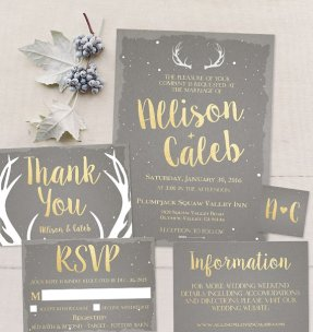 Gold and grey wedding invitation suite - www.etsy.com/shop/TheRusticBerry