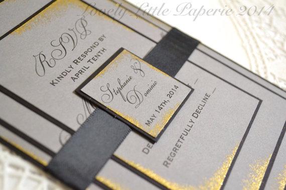 Gold and grey wedding invitation – www.etsy.com/shop ...