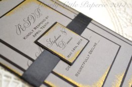 Gold and grey wedding invitation - www.etsy.com/shop/LovelyLittlePaperie