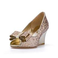 Gold wedge heels - www.etsy.com/shop/ChristyNgShoes