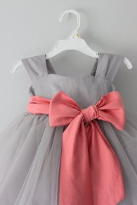 Grey and coral flower girl dress - www.etsy.com/shop/SaskiaDankbaar