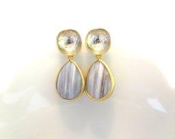 Grey and gold earrings - www.etsy.com/shop/LoveShineBridal
