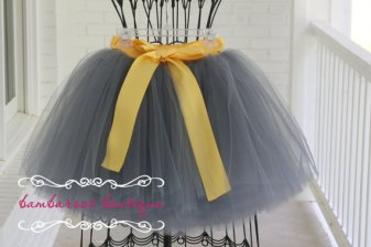 Grey and gold flower girl tutu skirt - www.etsy.com/shop/BambaroosBoutique