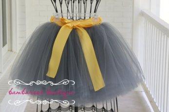 Grey and gold flower girl tutu skirt - www.etsy.com/shop/BambaroosBoutique