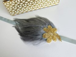 Grey and gold headband - www.etsy.com/shop/AdorningBeautyCo