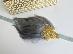 Grey and gold headband - www.etsy.com/shop/AdorningBeautyCo