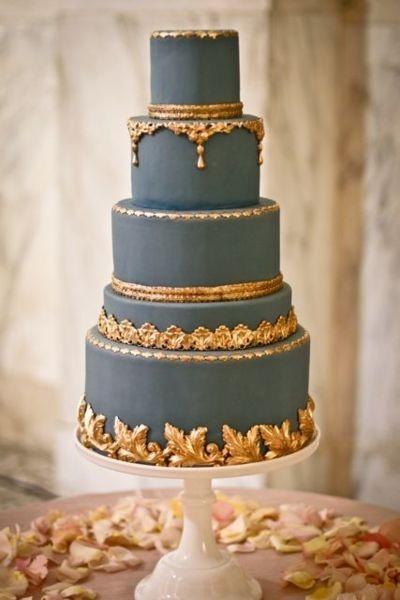 Grey and gold wedding cake {via indulgy.com} | The Merry Bride