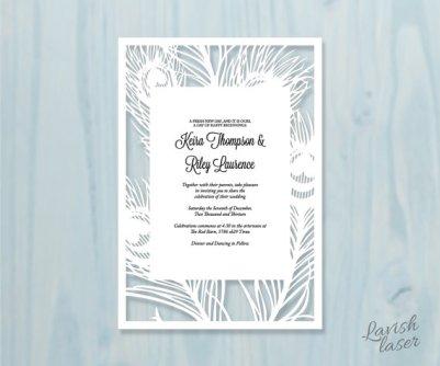 Peacock feather laser-cut wedding invitation - www.etsy.com/shop/LAVISHLASER