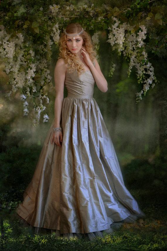 Silver grey wedding dress for Best etsy wedding dress shops
