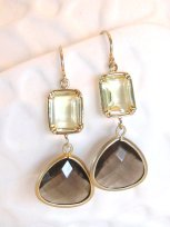 Taupe and gold earrings - www.etsy.com/shop/LoveShineBridal