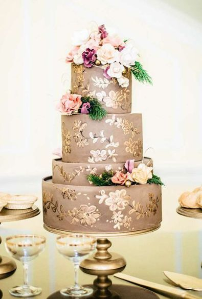 Taupe and gold wedding cake {via brides.com}