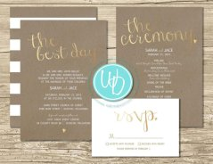 Taupe and gold wedding invitation - www.etsy.com/shop/WentrothDesigns