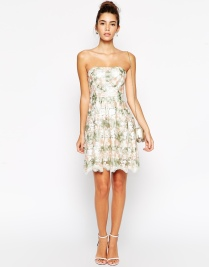 True Decadence Petite Bandeau Midi Dress In Floral Organza, from asos.com