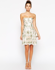 True Decadence Petite Bandeau Midi Dress In Floral Organza, from asos.com