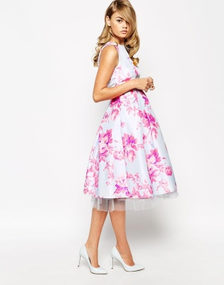 True Violet Sateen Floral Print Debutante Prom Midi Dress, from asos.com